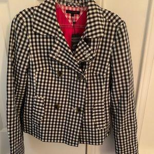 Tommy Hilfiger black & white checkered pea coat